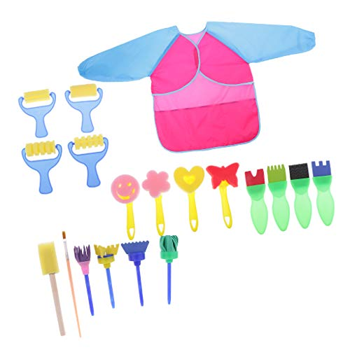 MagiDeal 20 Stück Schwamm Malerei Pinsel Set Kinder malen Handwerk Strukturpinsel Kinderpinsel Farbroller Schwammbürsten Kinder Early Learning Spielzeug