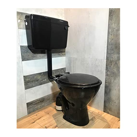 Ceramic Floor Mounted European Water Closet/Western Toilet Commode/EWC S Trap with Normal Seat Cover- Black & Premium Normal Flush Flush Tank Combo