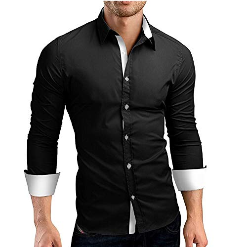 Makefortune Männer Casual Formal Dress Shirt Kontrast Langarm Schwarz Weiß Blau Dunkelblau Grau