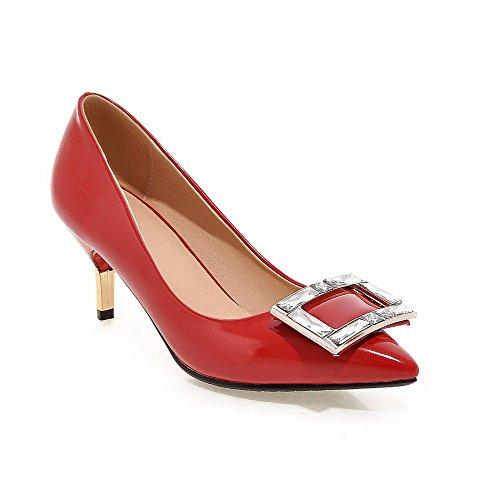 AgooLar Damen Hoher Absatz Eingelegt Ziehen Auf Lackleder Spitz Zehe Pumps Schuhe Rot