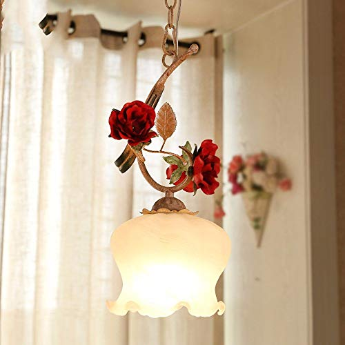 Zhang Ying ZY * Pendelleuchte Kronleuchter Vintage Shabby Einzigen Kopf Eisen Art Village Green Floral Licht Esszimmer Lampen, ohne Lichtquelle 15 * 15Cm