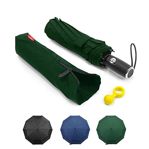 010014232024 Automatic Umbrella Windproof - Lejorain Folding Rain Umbrella / 10 Ribs  Stormproof - Collapsible 3 Fold Business Travel Umbrella for Men  Women(Green)