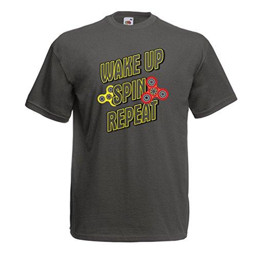 lepni.me Camisetas Hombre Despierta, Gira, Repite - Mi Fidget Spinner (Small Grafito Multicolor)