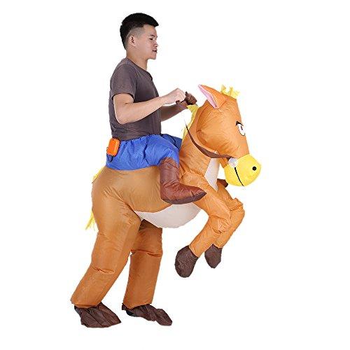 2 Kostüm Pferd Für - Anself Aufblasbares Kostüm Pferd und Cowboy Cosplay für Fasching Karneval