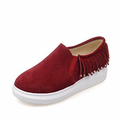 VogueZone009 Femme Fermeture D'Orteil Rond à Talon Bas Couleur Unie Chaussures Légeres Rouge Vineux
