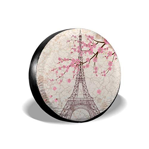 Yushg Francia Francese Parigi Torre Eiffel Fiore Sakura Divertente Copertura per Pneumatici Copertura per Pneumatici Impermeabile UV Sole 14'- 17' Misura per Jeep, rimorchio, Camper, SUV e Molt