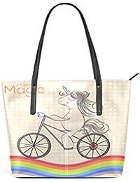 COOSUN Unicornio Que montan en el Arco Iris de la PU de Cuero Bolso Monedero  y Bolsos de la Bolsa de Asas para Las Mujeres Medio… ad5e4f8e226f9