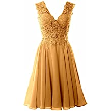 MACloth Women Straps V Neck Lace Chiffon Cocktail Dress Short Prom Formal Gown