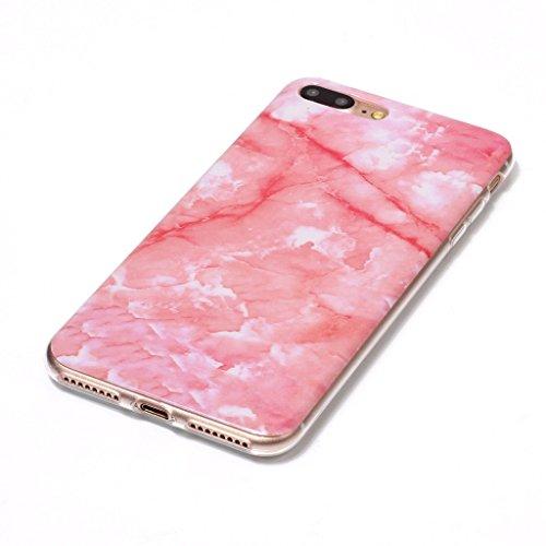 """Hülle für Apple iPhone 7 Plus , IJIA Marmor Muster Rosa TPU Weich Silikon Handyhülle Stoßkasten Cover Schutzhülle Handytasche Schale Case Tasche für Apple iPhone 7 Plus 5.5"""" (YH76) YH77"""