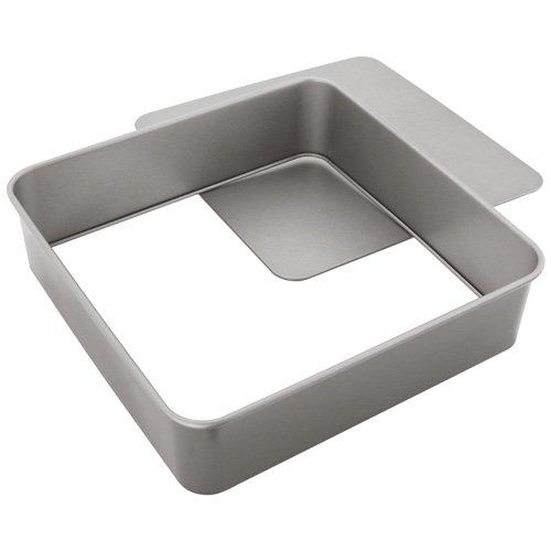 Judge JB56 Quadratisches Backform mit abnehmbarem Boden antihaftbeschichtet, Edelstahl, grau, 31.4 x 30.6 x 8.3 cm