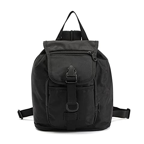 Tactical Drawstring Backpack Outdoor Military Hiking Daypack for Girls and Women Cycling Camping Travel School Camo Vintage Unisex Casual Rucksack Nylon Waterproof Shoulder Camera Bag (Black)