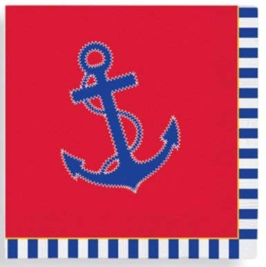 Olive Occasions Einweg-Papier, Oster-Frühling, Partyzubehör Americana Red, White, Blue With Anchor Beverage Napkins 48 Count