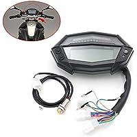 CXJUN - Odómetro Digital electrónico Digital Universal para Motocicleta con Pantalla LCD de Cristal líquido y Escala Ajustable, 0.94, Color Negro