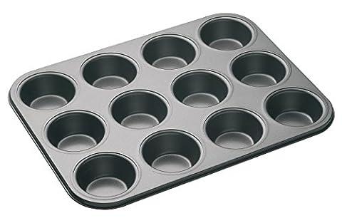 KitchenCraft MasterClass Non-Stick 12-Hole Cupcake Tray/Baking Pan, Grey, 35 x 27 cm