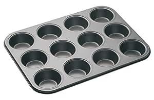 KitchenCraft MasterClass 12-Hole Non-Stick Cupcake Tray/Baking Pan, 35 x 27 cm