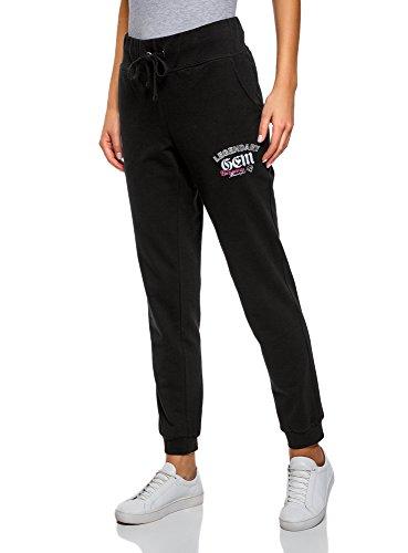Oodji ultra donna pantaloni in maglia con ricamo, nero, it 46 / eu 42 / l