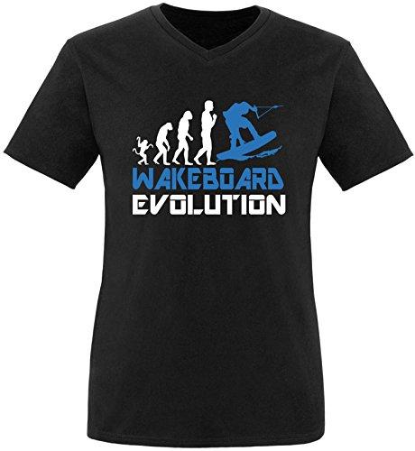 EZYshirt® Wakeboard Evolution Herren V-Neck T-Shirt Schwarz/Weiss/Blau