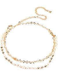 Ceinture Femme Fantaisie Strass Brillant Chaîne Tour de Taille Réglable 2 Rangées Perles Faux