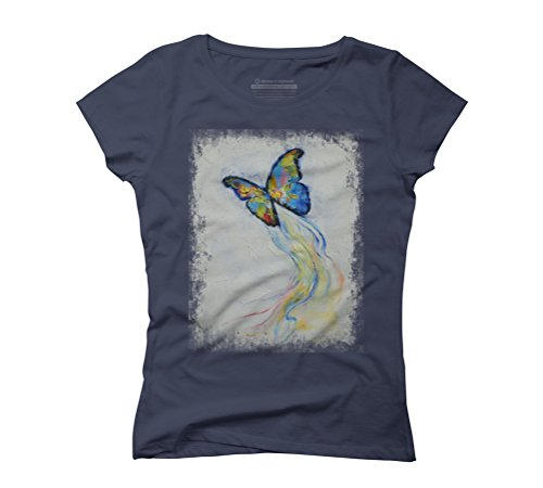 BUTTERFLY Women's 2X-Large Navy Graphic T-Shirt - Design By Humans
