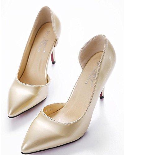 GS~LY Chaussures à talon pointu pour les hauts talons femmes Silver