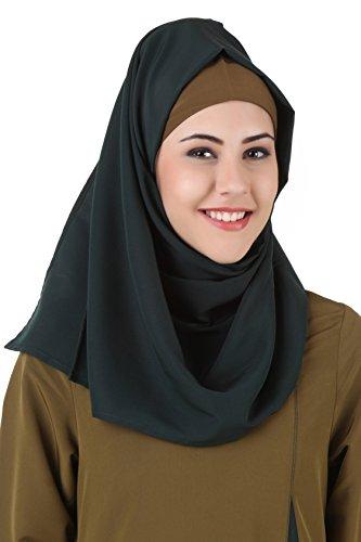 MyBatua Dunkelgrün Kashibo Islamisch Hijab, Quadratisch & Rechteckig, Designer Hijab, Hajj Wear, Islam Dua, Gebet Hijab HJ-080 (Rechteckig(50*180 cm))