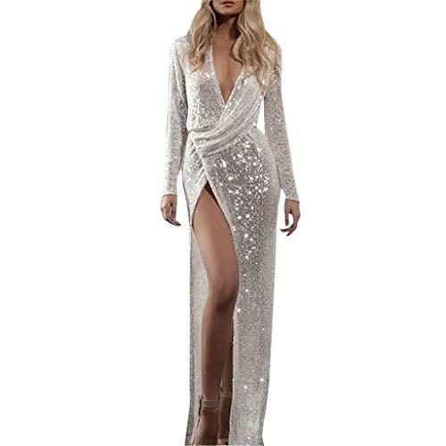 Lang Kleider,Frauen Reizvolle Spitze Sleeveless Dünnes Kleid Druck Hohle Maxi Kleid Partei Kleider Evansamp(Silber,M) ()