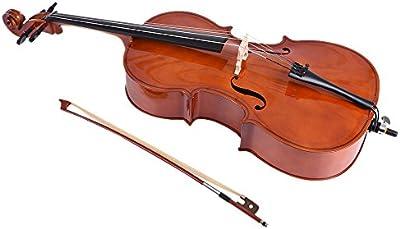 Ammoon 1/2para violonchelo de madera acabado brillante madera de tilo cara Junta con arco colofonia bolsa para estudiantes amantes de la música