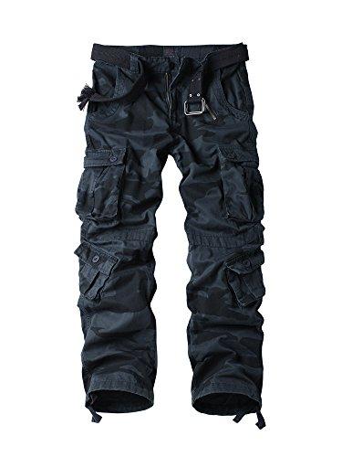 OCHENTA Herren Freizeithose Wasserwäsche Cargohose mehrere Tasche aus Baumwolle Loose-Fit #3357 Schwarzblau Tarnung