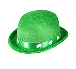 St Patrick's Day Green Felt Bowler Hat With A Shamrock Band by Henbrandt
