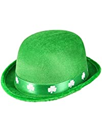 St Patrick's Day Green Felt Bowler Hat With A Shamrock Band