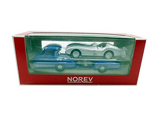 Norev–311000–Modellbau–Mercedes–Benz Renntransporter + W196–1954–Echelle 1/64, blau/Silber