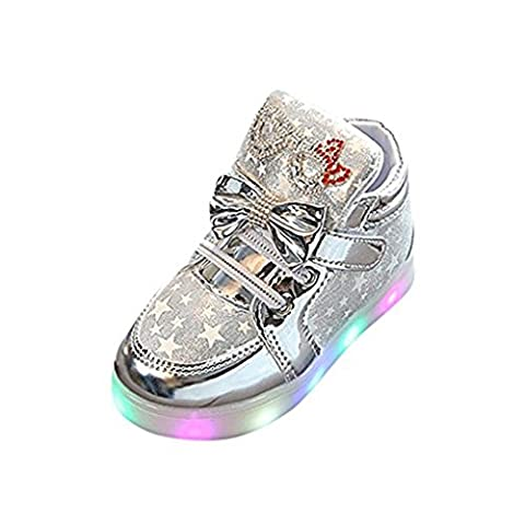 Schmetterling LED Schuhe Kids Light shoes, Stillshine - Girls blinken Sport Running Sneaker Baby shoes Halloween Christmas Gift (24, Silber)