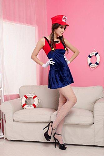 Gorgeous Super Mario Mario Kleid Trägerkleid Bekleidung (Super Weiblich Kostüm Mario)