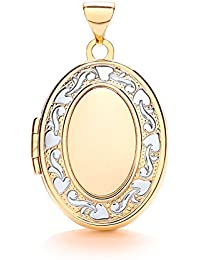 JQS - 9ct White & Yellow Gold Floral Trail Engraved Oval Shaped 4 Photo Family Locket