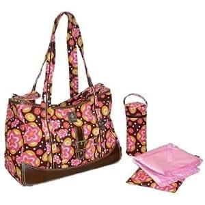 Zippered Top Kalencom Weekender Tote Diaper Bag W/ Mesh Storage Pockets - Fleur De Lis Chocolate Baby / Child / Infant / Kid