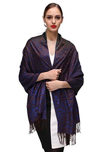 Shmily Girl Shmily Girl Damen Schultertuch Stola - Eleganter Pashmina Schal mit floralem Muster in vielen Farben (One Size, Blau-c071)
