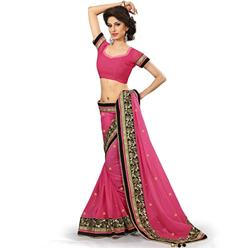 Designer Partywear fashionable Sarees with velvet touch border Saree in Pink Fuscia color by vasu saree