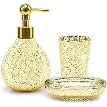 SATU BROWN Juego de Accesorios de baño dispensador de jabón de baño Vaso  baño jabonera Plato b73a2602efc0