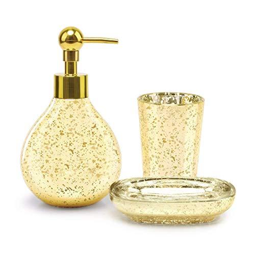 SATU BROWN Juego de Accesorios de baño dispensador de jabón de baño Vaso baño jabonera Plato de Lujo Dorado para decoración y Regalo de inauguración de la casa