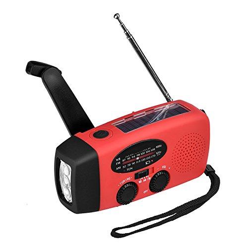 zantec Multifunktions-Tragbares Mini Radio Not Hand Kurbel selbst Powered AM/FM Solar Wetter Radio mit LED Taschenlampe (Kurbel-powered Radio)
