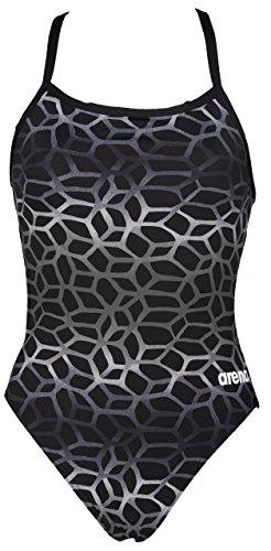 Arena Damen Badeanzug Polycarbonat II, schwarz - schwarz / grau, DE: 44 (Taille Fabricant: 40)
