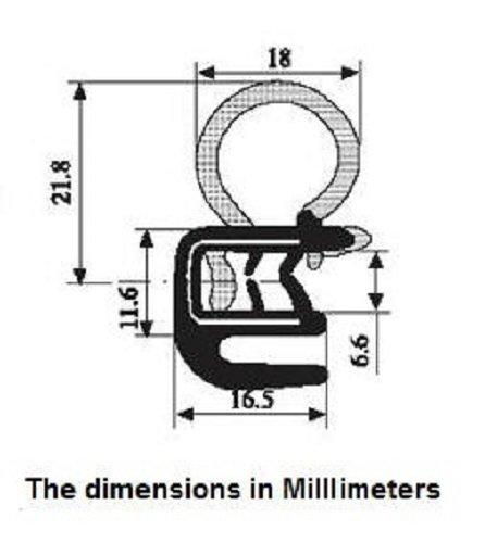 Tür Trim Seal mit Innen Gummi Flansch 18mm Leuchtmittel Durchmesser x 6,6mm GRIP Range (4Meter) (Gummi-flansch-dichtungen)