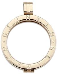 glinkin 35mm bañados en oro 18K acero inoxidable Coin Discos Marco Soporte para Coin Collar con Colgante