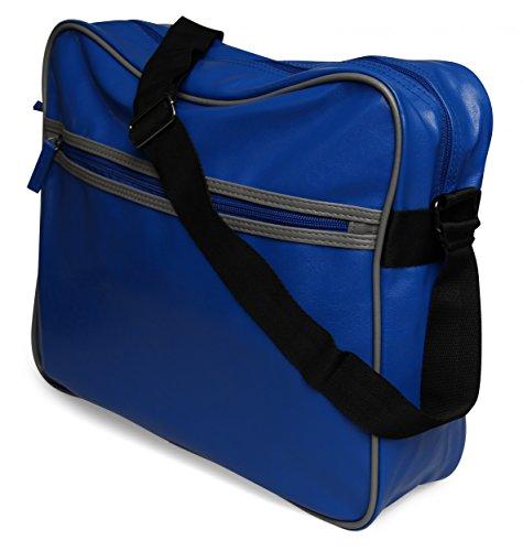 styleBREAKER Vintage Umhängetasche, Messenger Bag in Leder Optik 02012009 Royalblau