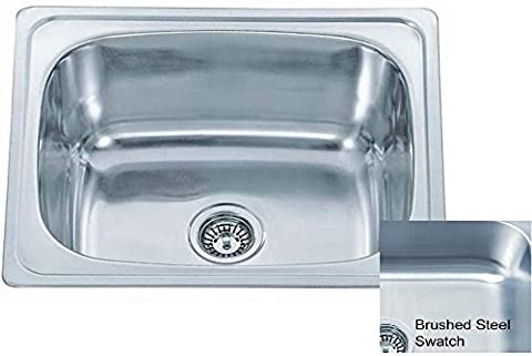 Big Inset Brushed Stainless Steel Single Bowl Kitchen Sink 610x510