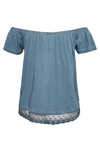 Rock Angel Off-Shoulder Shirt LINDA | Leichtes schulterfreies T-Shirt mit Spitzeneinsatz dark-blue (Outfits Angel Dark)