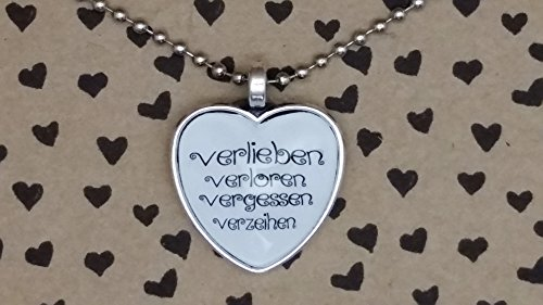 Spruchkette by Perletta 80 cm silberne Kugelkette mit 2,5 cm Herz-Anhänger Verlieben Verloren Vergessen Verzeihen Liebe Liebeserklärung Geschenk Valentinstag