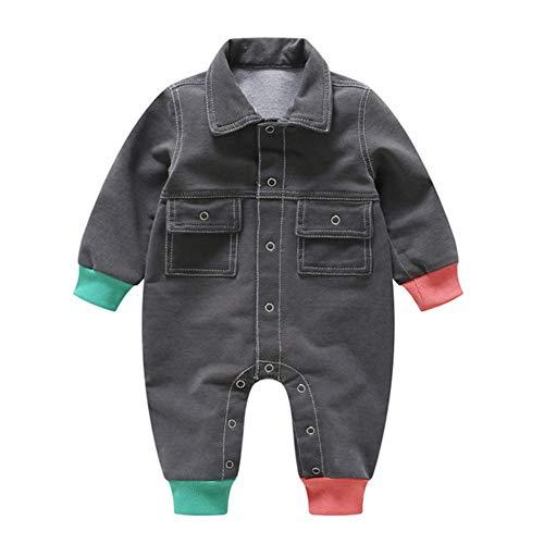 ZIHOUKIJ Strampler für Neugeborene, Babys, Jungen, mit Revers, Denim, langärmelig, Bedruckt, 1-teilig, Geschenk für Baby Gr. 73 cm, grau Adorable Jeans