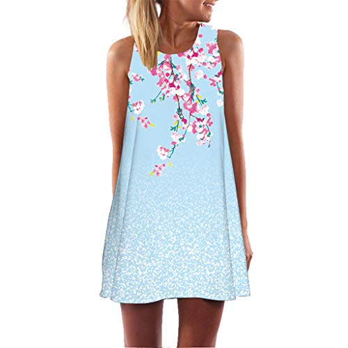 HHyyq Women's Summer Dress Vintage Sleeveless Floral Print Mini Dress Women Casual Cross Strappy Spaghetti Tank Short Beach Dress Shirt Dress(Hellblau,L) Floral Print Knit Dress