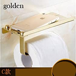 Generic Ultrathin Style Bathroom Toilet Paper Rack Wall Mounted Roll Paper Tissue Holder Mobile Phone Rack Yellow